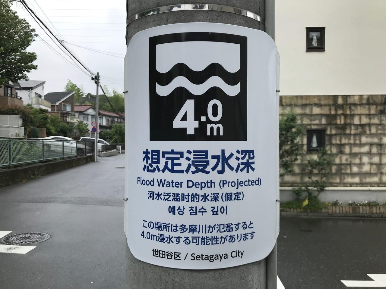 世田谷区想定浸水深4M